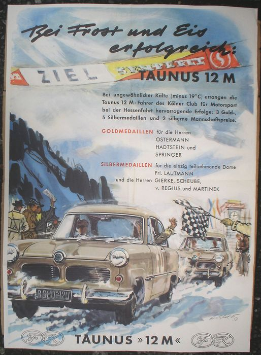 Poster - Racing Poster Taumus 12M signiert Gotschke - Ford