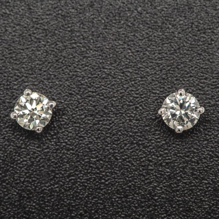 14 kt. White gold, 0.68g - Earrings - 0.37 ct Diamond - No Reserve Price