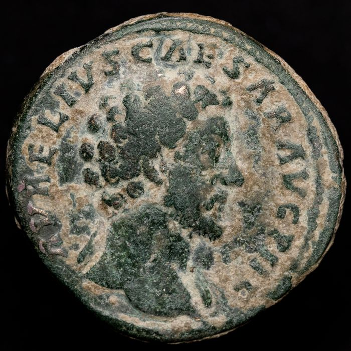 Roman Empire. Marcus Aurelius (AD 161-180). Æ Sestertius,  TR POT XV COS III, Pietas holding child in either arm, with two more children standing at her side
