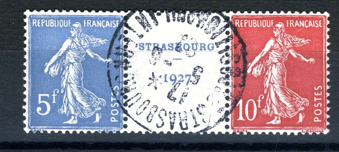 Francia 1927 - Strasbourg exhibition, postmarked, No. 242a, value: €800 - Yvert 242a