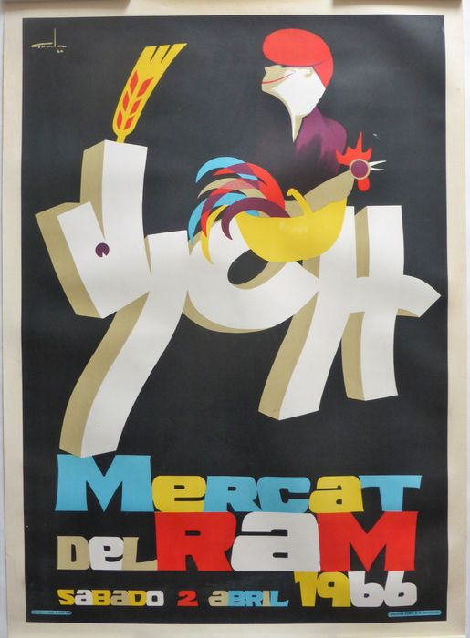 "Ramon Goula Rota - ""Vich"" Mercat del Ram Original Antique Old Lithograph Spanish Poster - 1966"