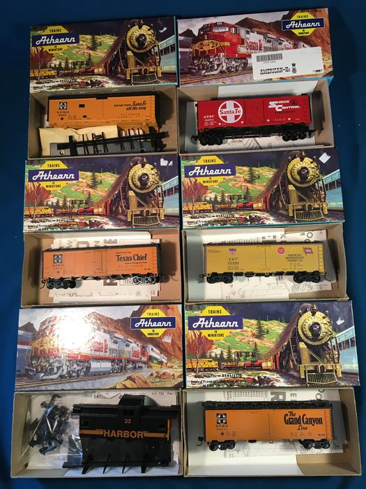 Athearn H0 - 1221/5024/5020/1605/5388/1776 - Goederenwagon - 6 various - Santa Fe, Grand Canyon, ATSF, Indiana Harbor Belt