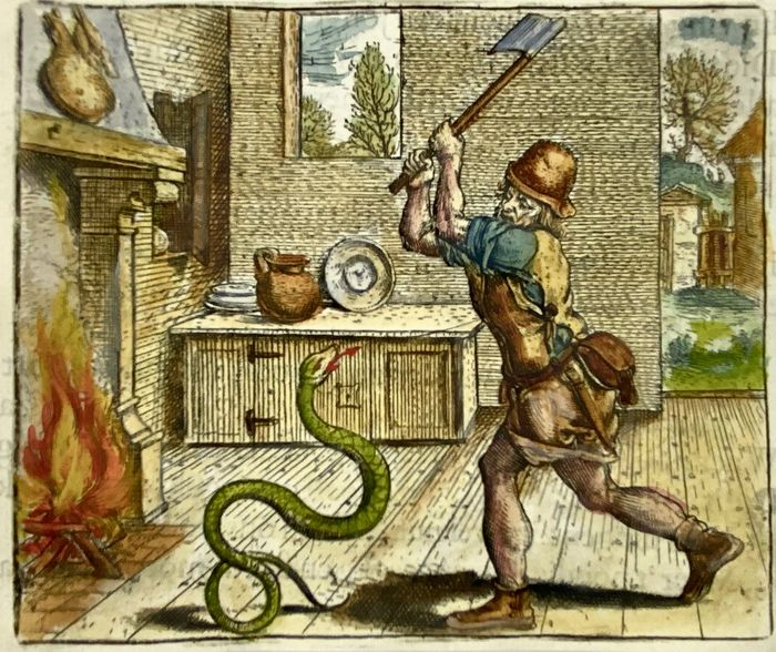 Marcus Gheeraerts the Elder (c. 1520-1590); Hand coloured - The Snake and the Farmer [Aesop] - 1620