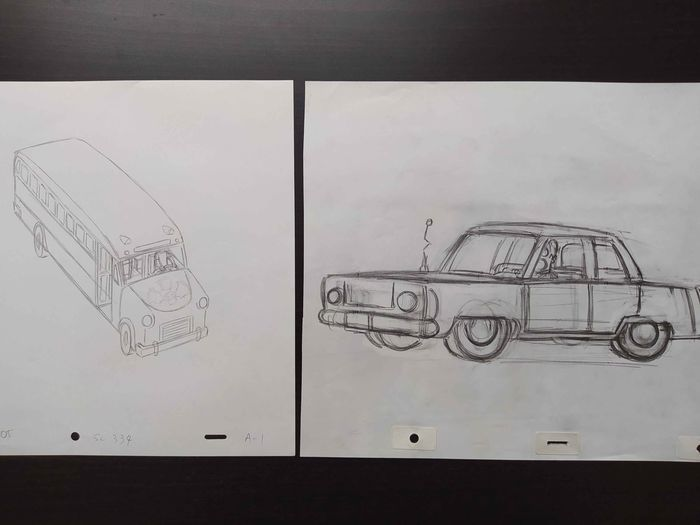 The Simpsons - 2 x Original drawings of Simpson's Car and School Bus - Unique