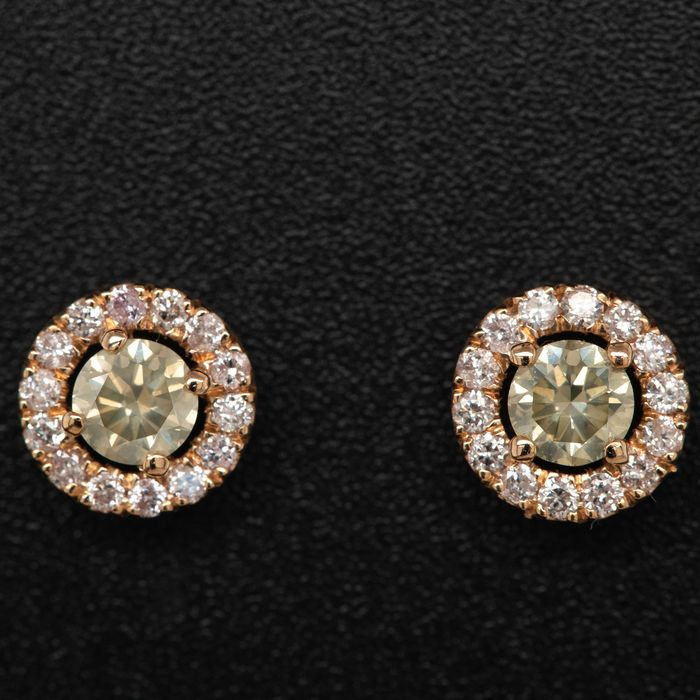 Pink gold, 1.70g - Earrings - 0.72 ct Diamond - No Reserve Price