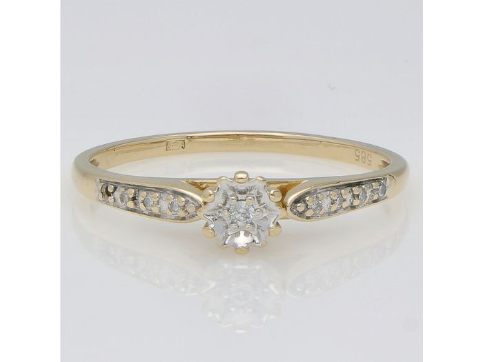 14 kt Gold - Ring - 0.04 ct Diamant