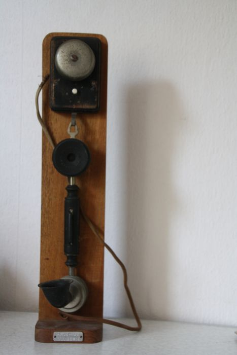 A wall phone butler phone on console - Bakelite, Steel, Wood
