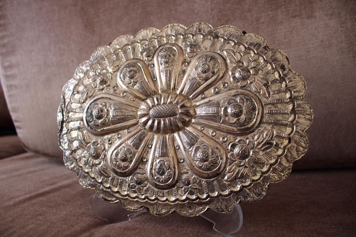 Antique Hand Chiseled Mirror - Big Size - .900 silver - Turkey - Early 20th century
