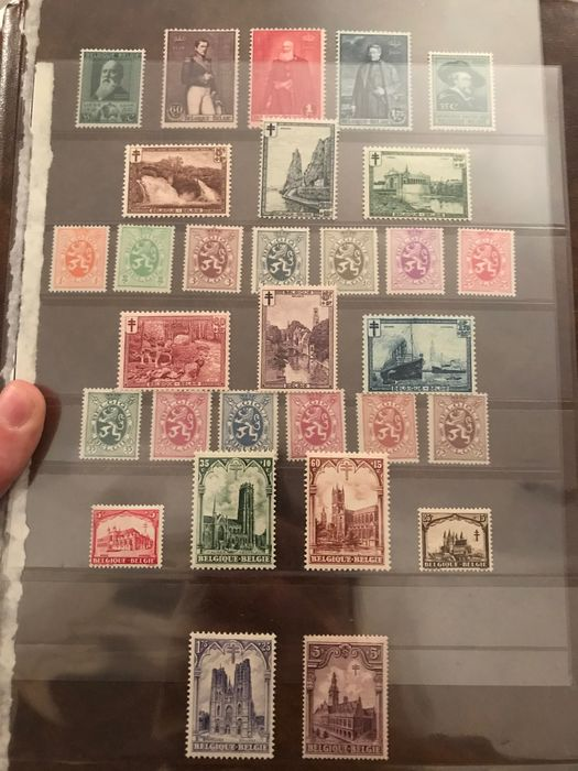 Belgium 1928/1930 - 5 issues with belfry, landscapes and Heraldic lion - OBP / COB 267/272, 275/288A, 293/300 en 302/304