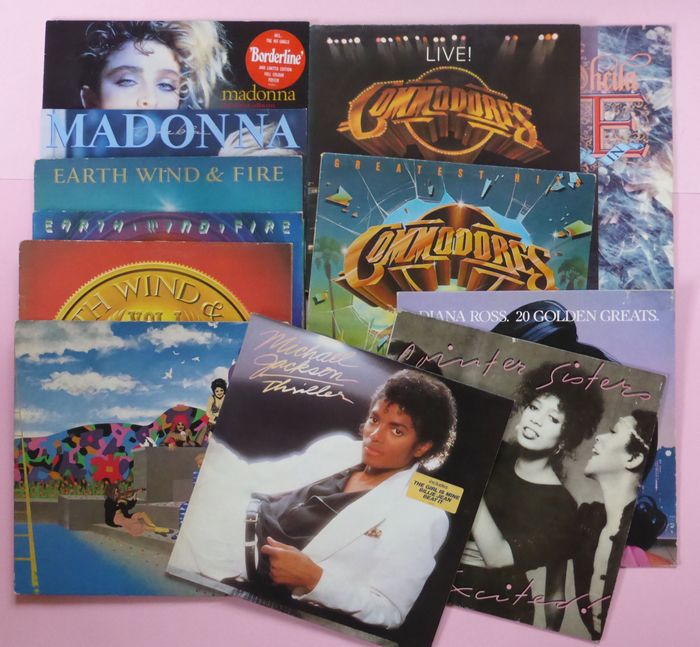 Various Artists/Bands in Soul, set of 12 funk/soul/pop albums of the 70-80's - Multiple artists - Prince, Madonna (2), Michael Jackson, Earth Wind & Fire (3) etc - Multiple titles - LP's - 1975/1990