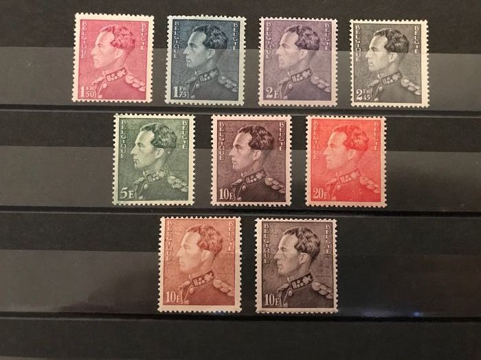 Belgium 1936 - Poortman issue with two additional nuances 10 Fr - OBP / COB 429/435 en 434A/434B
