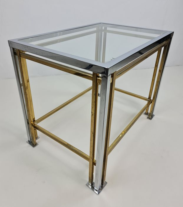 Side table, brass with glass top and chrome finish
