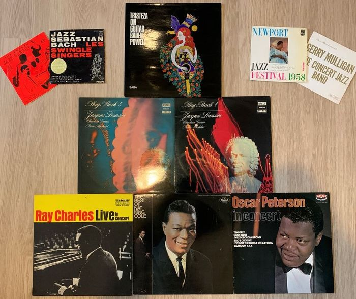 Diverse Jazz albums & singles o.a. Baden Powell, Ray Charles, Jacques Loussier, Oscar Peterson, - 7″-Single, LP's - 1958/1970