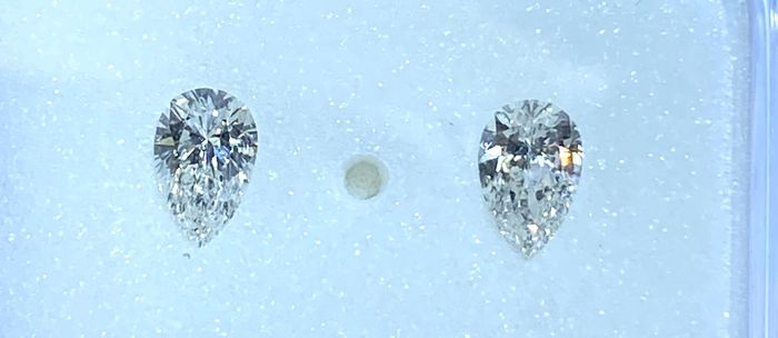 2 pcs Diamants - 0.46 ct - Émeraude - F - SI1