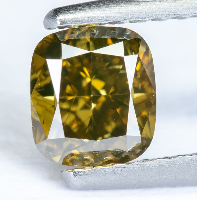 Diamante - 1.01 ct - Giallo brunastro verdastro intenso fantasia naturale - VS2 *NO RESERVE*