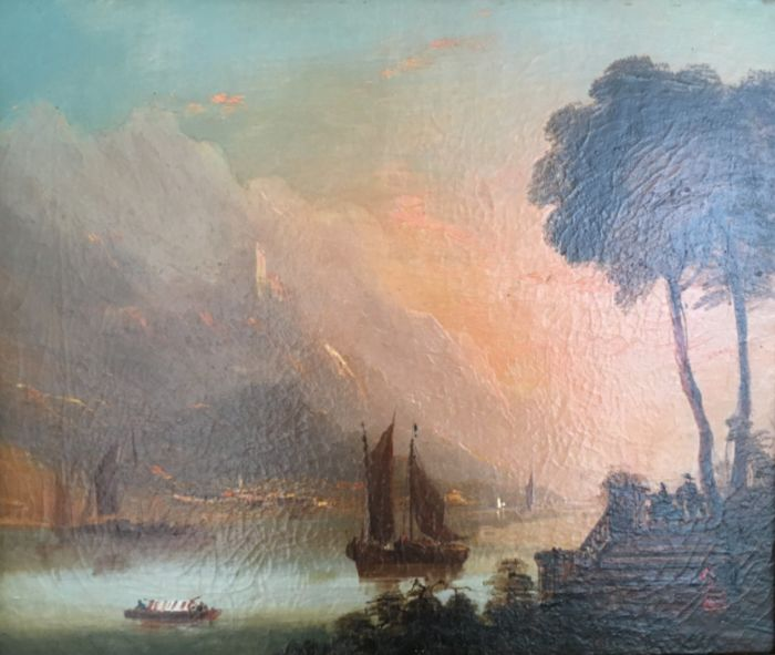 Italian School Early 19th Century - Pastoral scene of lake and hillside historical building with figures in foreground and sailing ships