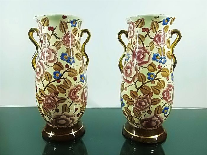 Raymond Chevallier -Boch Freres - pair of art deco vases in Shanghai decor
