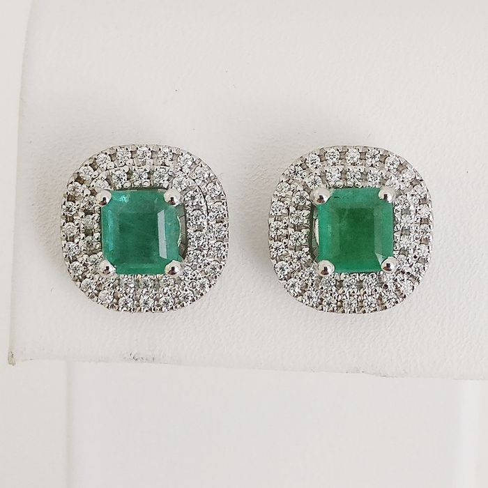 18 quilates Oro blanco - Pendientes - 1.68 ct Esmeralda - Diamantes