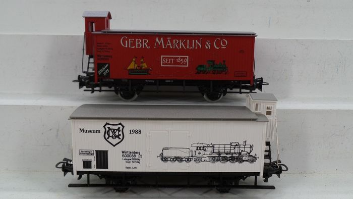 Märklin H0 - 1989/1988 - Freight carriage - 2 Museum cars 1989 and 1988 - DB