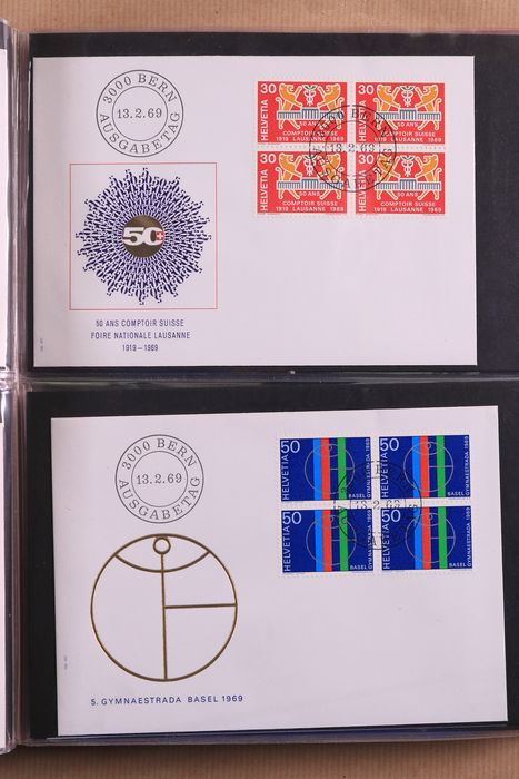 Switzerland 1966/1995 - Collection of postal items, FDCs and covers in 7 albums
