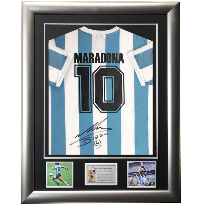 Signed & Framed Argentina - World Cup - Diego Maradona - Jersey
