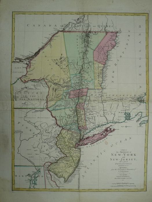 États-Unis, East Coast, New York, New Jersey; C.J. Sauthier / Matthew Albert Lotter - A map of the Provinces of New-York and New Jersey with a part of Pennsylvania - 1761-1780
