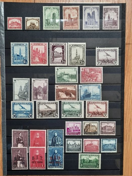 Belgium 1922/1938 - Belgium 1922/1938 collection of stamps in complete sets, unused/MNH - Michel