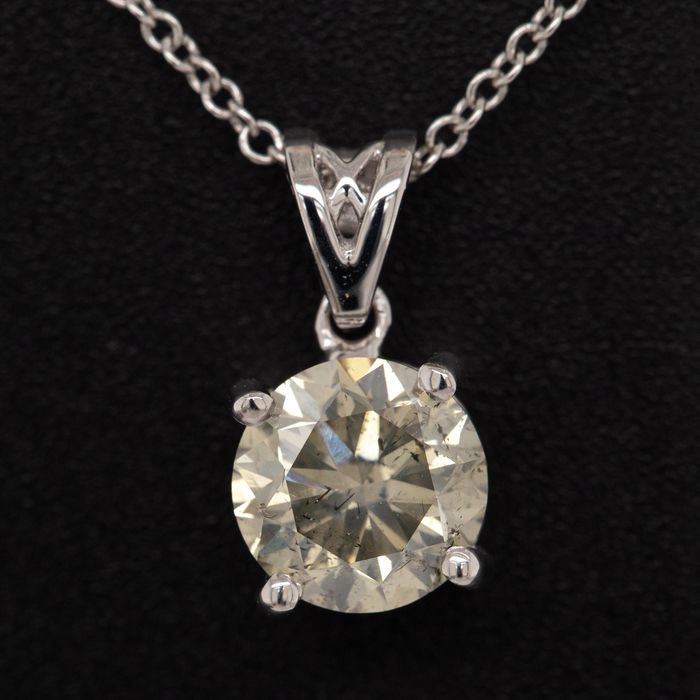18 kt. White gold, 2.54g - Necklace with pendant - 1.11 ct Diamond - No Reserve Price