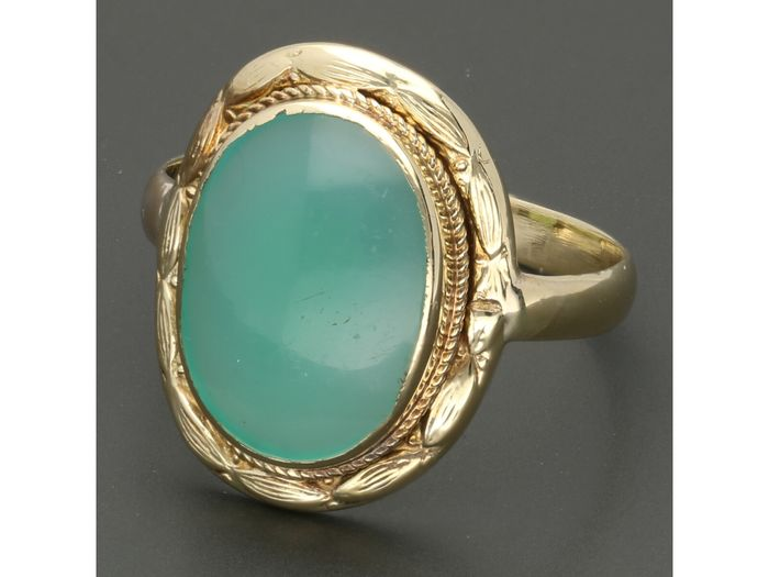 14 kt Gold - Ring - 3.11 ct Achat