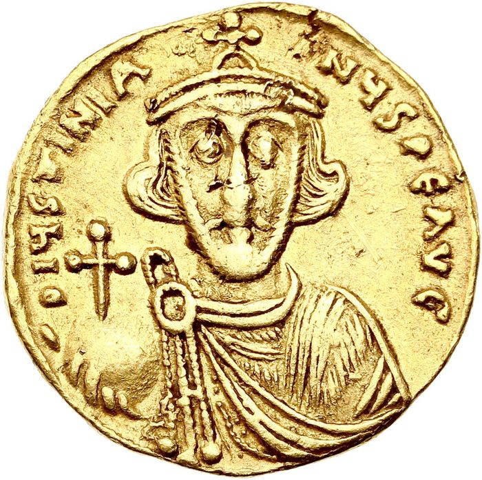 Byzantine Empire. Justinian II (First reign, AD 685-695 / Second reign, AD 705-711). AV Solidus,  687-692, Constantinopolis. Officina Δ