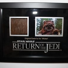 """Star Wars - Return of the Jedi - Movie Prop - Original Ewok Fur for """"Wicket"""" - Framed Display - with COA Propstore"""