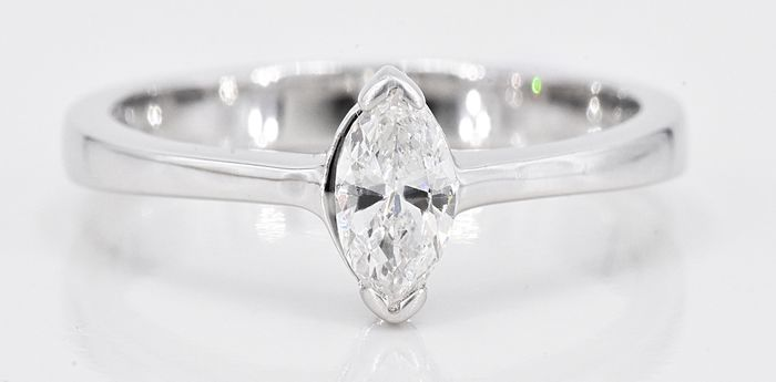 18 quilates Oro blanco - Anillo solitario - 0.37 ct Diamante