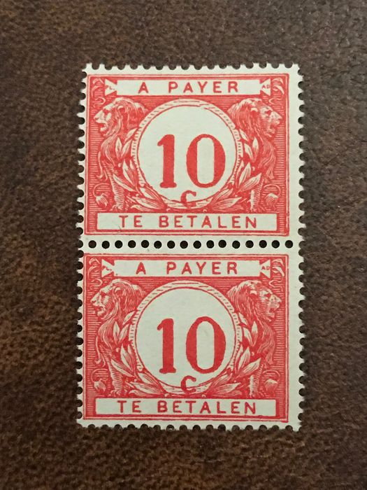 Belgium 1895 - 10 centimes postage due with shifted denomination numeral - OBP / COB TX4