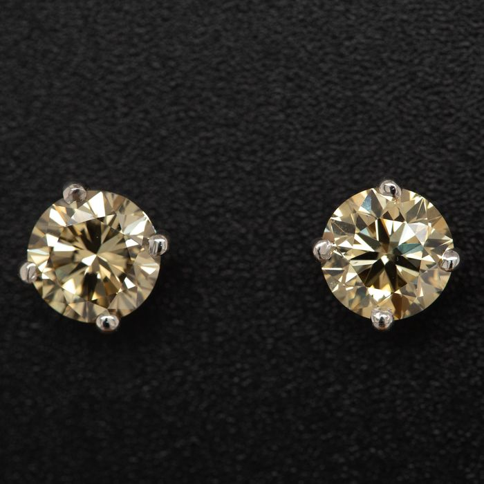 14 kt. White gold, 1.45g - Earrings - 2.02 ct Diamond - No Reserve Price