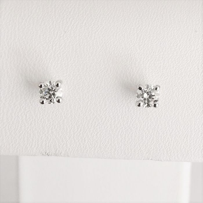 18 quilates Oro blanco - Pendientes - 0.30 ct Diamante