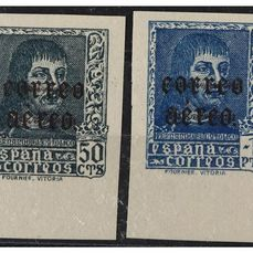 Spagna 1938 - Ferdinand, airmail, imperforated, variety with black overprint. Signed Hevia. - Edifil 845hccs/846hccs