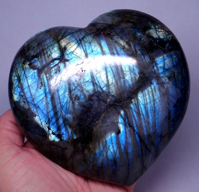 First Quality Polished Labradorite Heart - 145×135×45 mm - 1290 g
