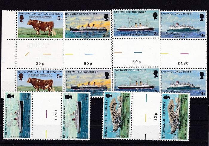 Guernsey 1972/1986 - collection of 224 different gutter pairs