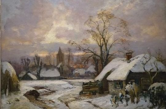 David Schulman (1881-1966) - Winterse dag in Laren