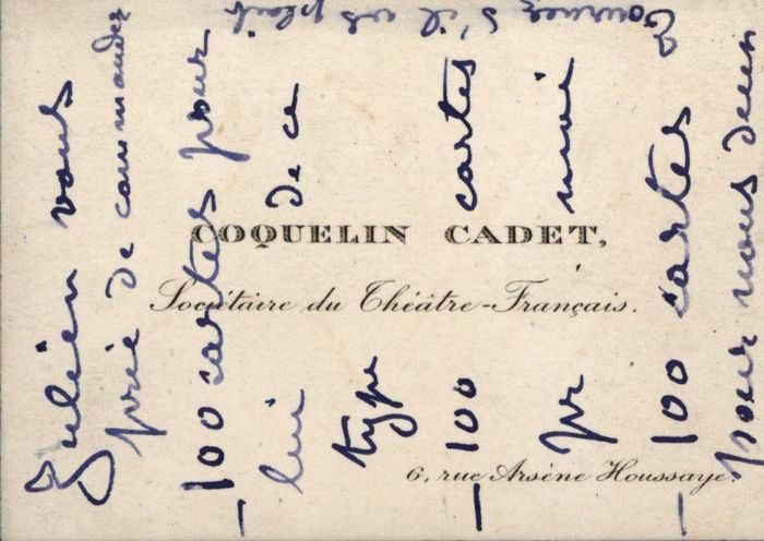 Jacqueline Codet (in name of) - Manuscript; Request Coquelin Codet Business Card (not autographed) for Pierre Loti and Others - 1880/1890