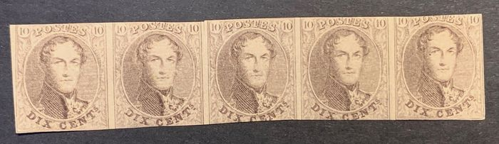 Belgium 1861 - Leopold I - Medallion 10, brown in a strip of five - MNH - OBP / COB 10