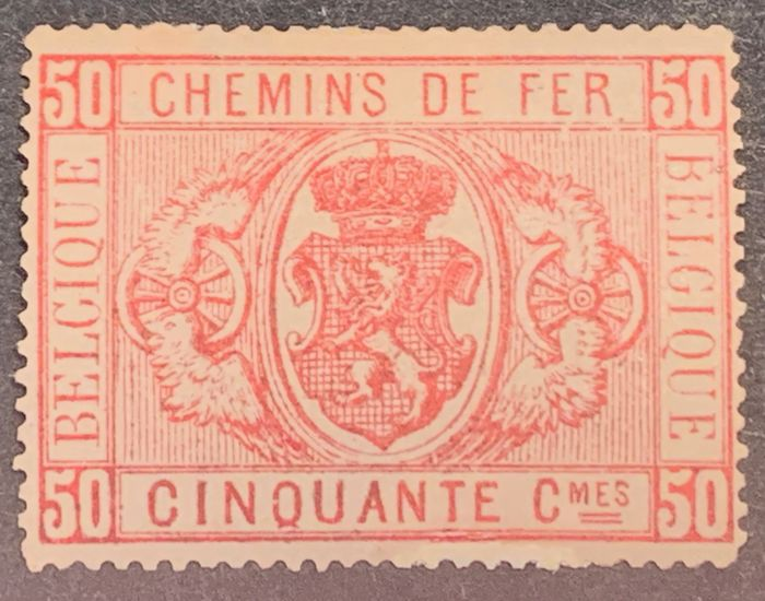 Belgium 1879/1882 - Railway stamps with the national coat of arms - First emission - 50 centimes pink on parchment-like paper - OBP / COB TR4A