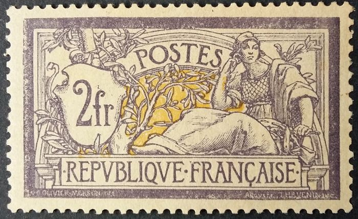 Frankreich 1900 - Merson, 2 francs purple and yellow - Yvert 122
