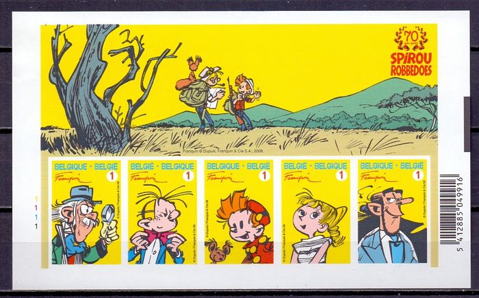 Belgium 2008 - Seventy years of Robbedoes - Spirou - Imperforate block - With rear number - OBP Bl 154