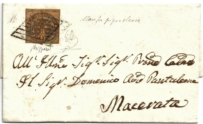 Italian Ancient States - Papal State 1854 - 3 baj bistre orange, oily ink on letter to Macerata, double grid cancellation - Sassone N. 4e