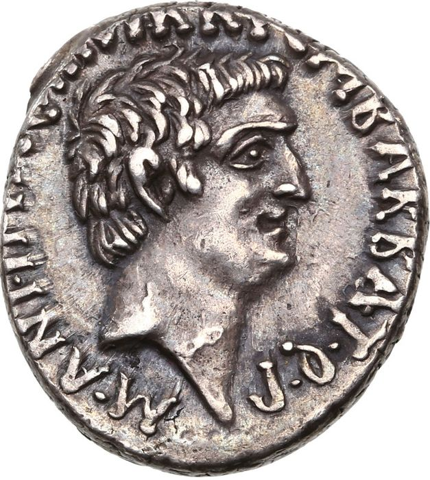 Roman Republic (Imperatorial). Octavian and Marcus Antonius. AR Denarius,  mint moving with M. Antony 39 BC