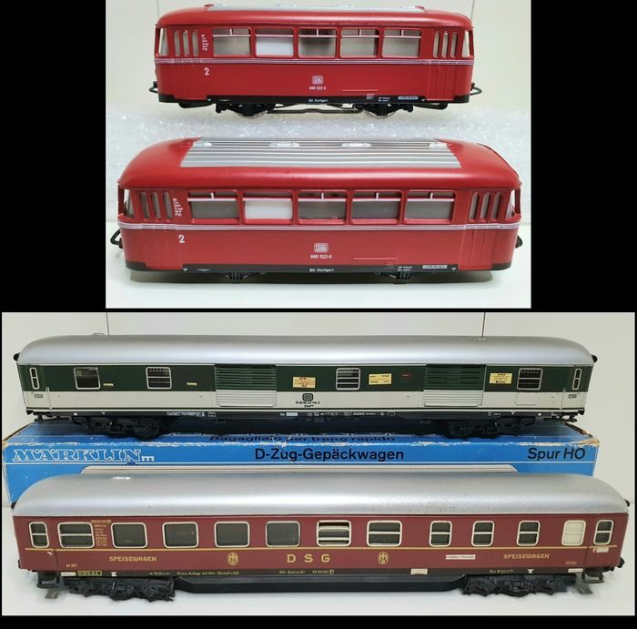 Märklin H0 - 4018/4093/4024 - Passenger carriage - 2 x VT995 trailer, baggage car, dining car - DB