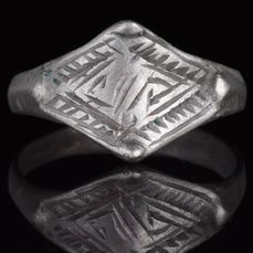 Viking Silver Ring with Runic Symbols