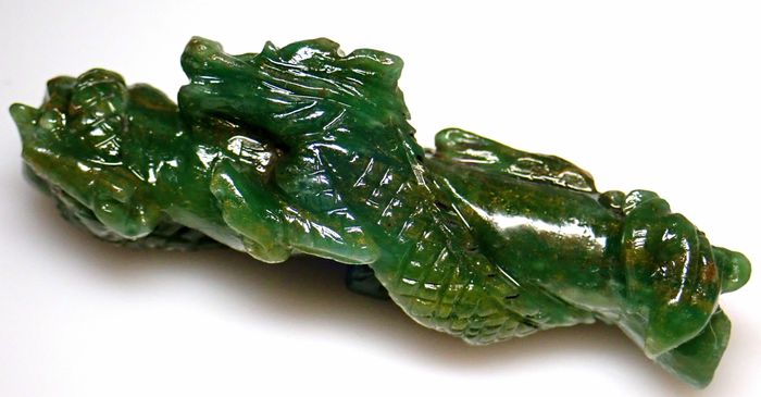 Large Natural Precious Colombia Emerald Dragon Carving, Untreated 81.5ct - 53.55×20.77×18.53 mm - 16.3 g