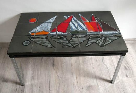 Coffee table, Vintage rectangular coffee table with enamelled anthracite gray background